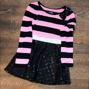 Young Girls Cute Pink/ Black Dress